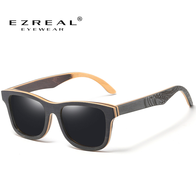 EZREAL брендовые Дизайнерские деревянные солнцезащитные очки Новые Мужские поляризационные черные деревянные солнцезащитные очки для скейтборда Ретро винтажные очки Прямая поставка