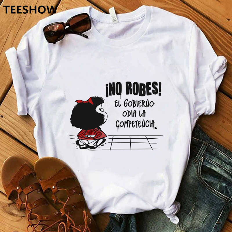 Summer Casual Harajuku T Shirt Women Mafalda Printed Women T Shirt Funny Short Sleeve O-neck Tops Lovely Vogue Women Clothes