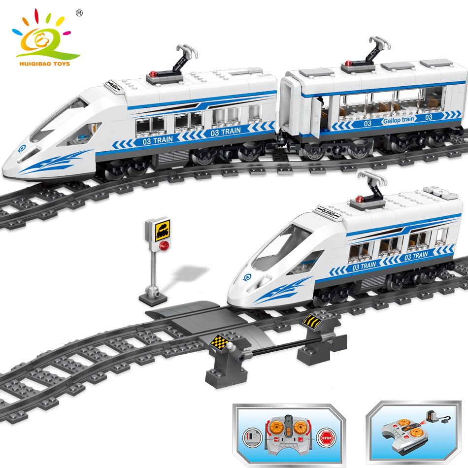 583PCS City RC Train with Track Rail Building Block Technic Motor Battery Powered Model Bricks kit