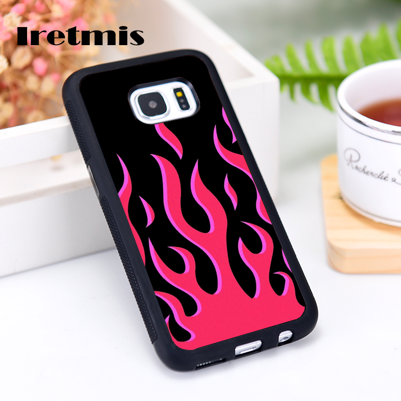 Iretmis Silicone Rubber phone case cover for Samsung Galaxy S5 S6 S7 S8 S9 edge plus S10 Lite S10E Note 8 9 10 Red Flames image