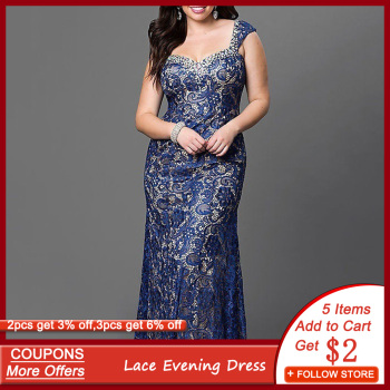 Blue Lace Floral Patchwork Evening Dress  Sleeveless Mermaid Long Robe Femme Elegant Wedding Formal Gown Plus Size Vestidos