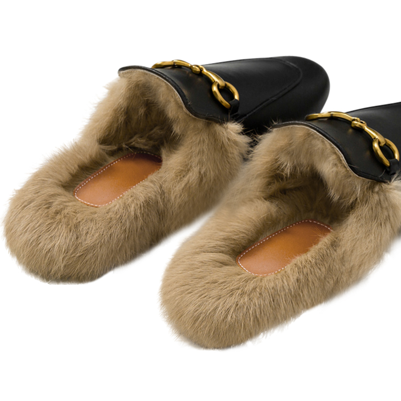 Fur Slides Muller Shoes 2020 Spring And Autumn New Outdoor Rabbit Fur Slippers Female Lazy Shoes Flat Toe Cap Half Slippers