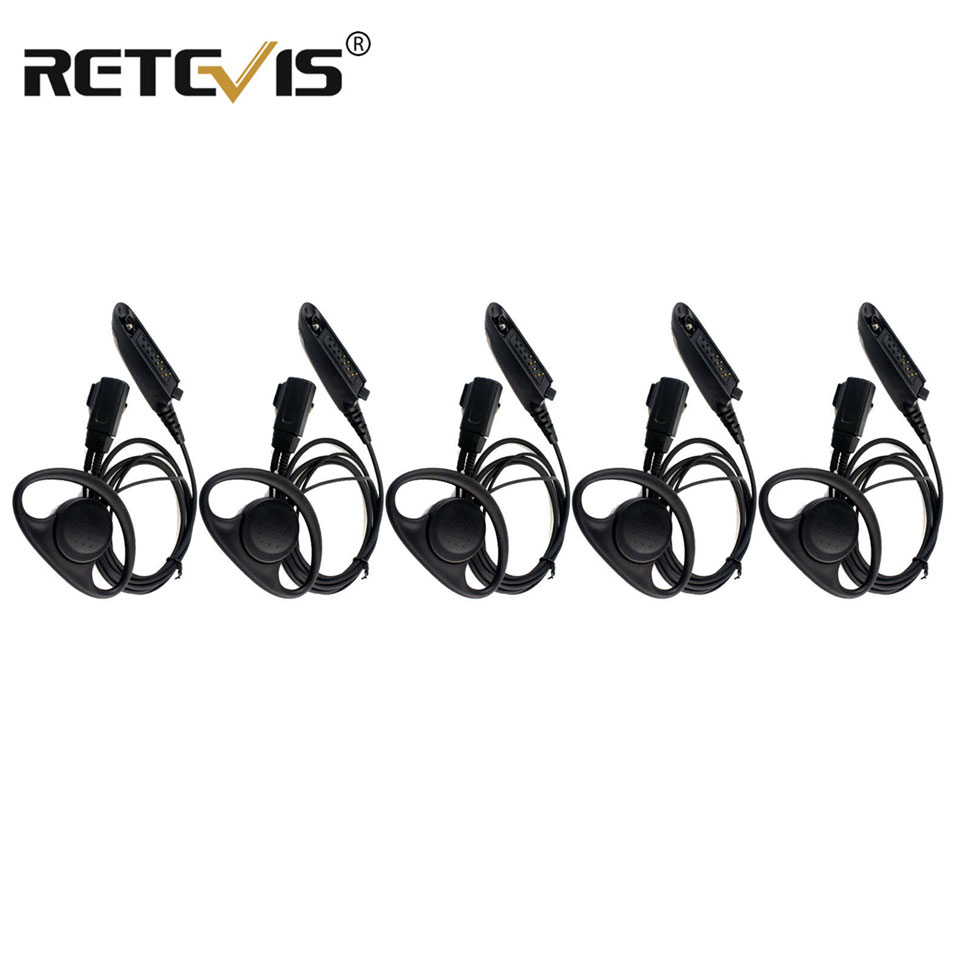 5pcs Headset For Walkie-talkie Multi-Pin D-Shape Earpiece Headset For Motorola GP328 GP320 Two Way Radio C2011A