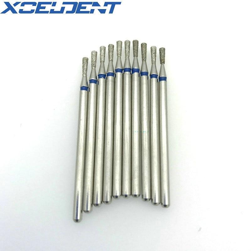 New 10 Pcs 2.35mm Shank Dental Diamond Grinding Bur Drill Bits For Grinding Inverted Cone MN18 Polishing Burs Dentist Tools