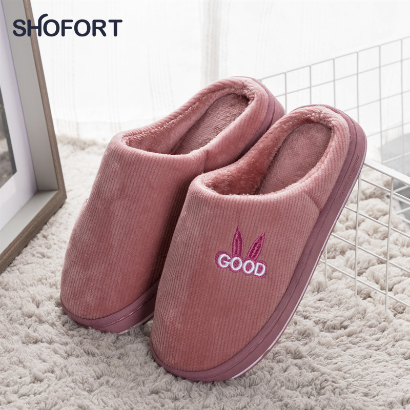 SHOFORT Women Shoes Warm At Home Winter Slippers Soft Thick Non-slip Bottom House Slippers Indoors