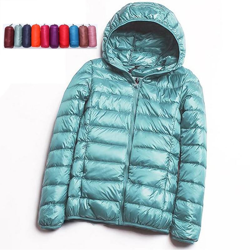 2019 New Autumn Winter Women Thin White Duck   Down   Jacket Parka Female Ultra Light   Down     Coat   Short Tops Pocket Parkas Plus Size