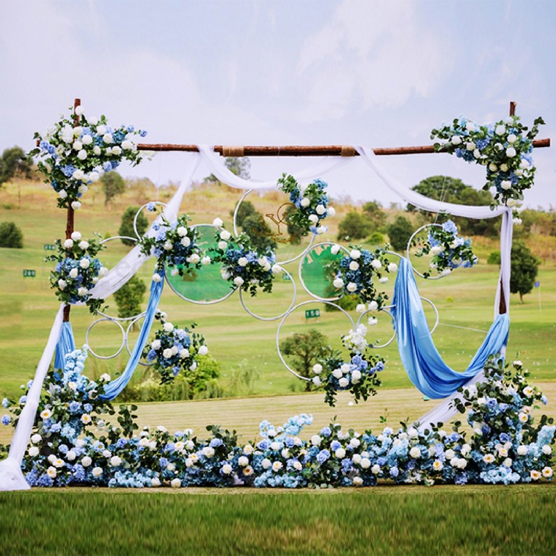 Wedding Flower Frame Ring Wrought Iron Floral Artificial Wall Stage Decorative Wreath DIY