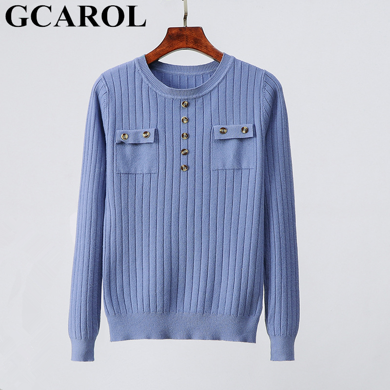 GCAROL New Women O Neck Buttons Sweater Slim Stretch Casual Jumper OL Knit Pullover High Street Fall Winter Knit Tops 6 Colors