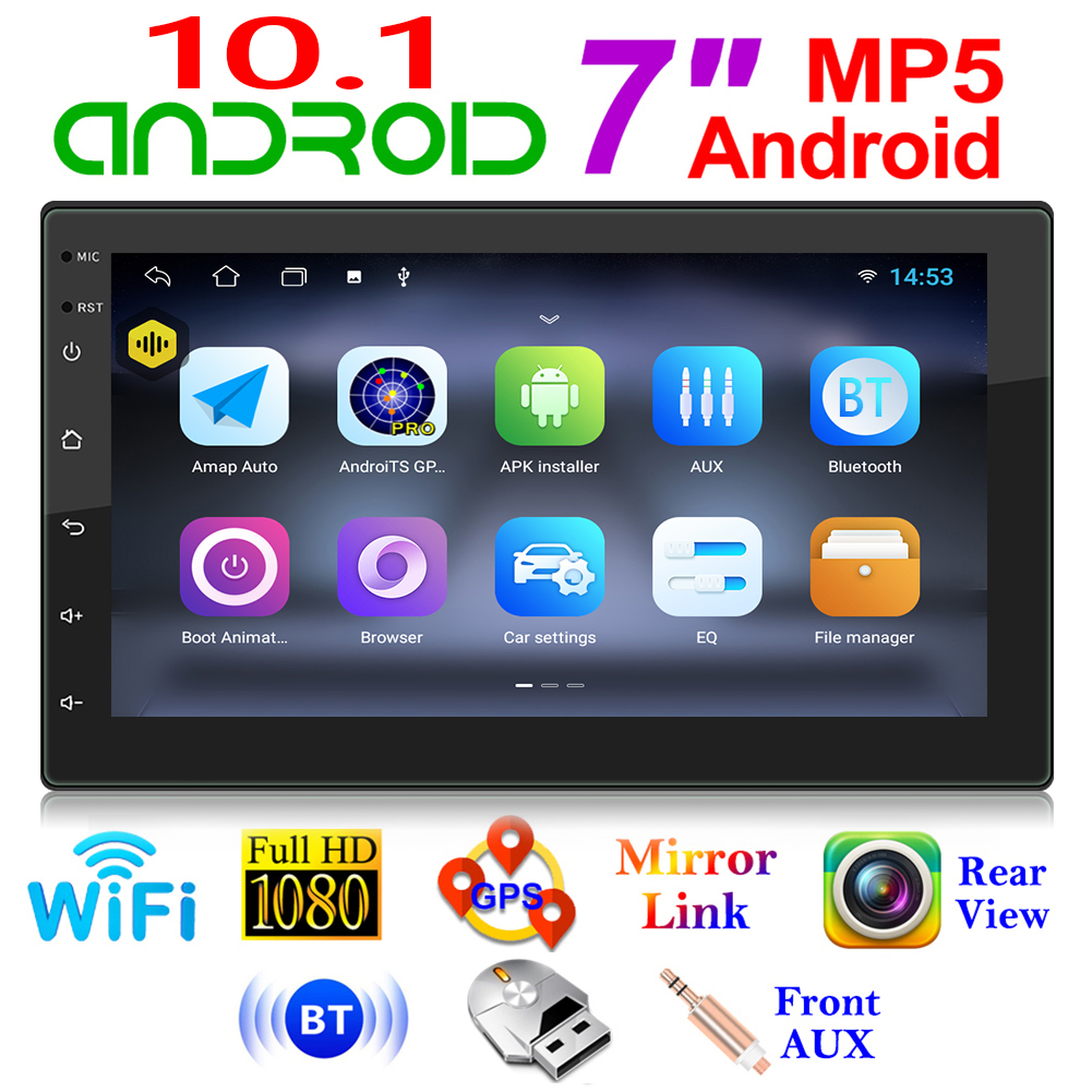 Vodool Android 10.1 2 Din Auto Multimedia Video Speler Stereo Gps Navigatie Wifi Bluetooth Aux Head Unit 1Gb + 16Gb 7 Inch