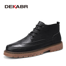 Ankle-Boots Footwear Heighten-Shoes Male Mens DEKABR Brock-Style Zapatos Hombre New-Arrival