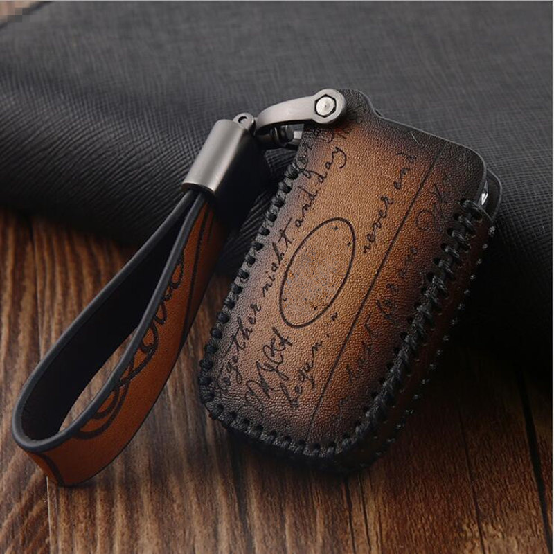 Key Shell Case Fashion Car Key Bag Fob For Land Rover Range Rover Evoque Discovery 5 Buttons Evoque Leather Key Cover For Jaguar