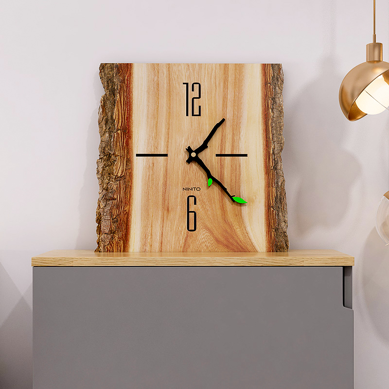 Grande horloge murale bois style buche 2 chiffres
