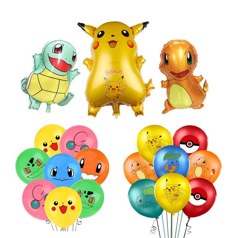1 Набор Пикачу Покемон мультяшный алюминиевый шар и латексные шары украшение для детского дня рождения Детская игрушка Гелиевый шар