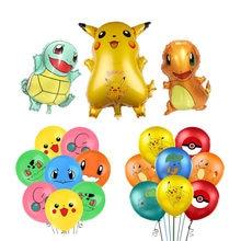 1 conjunto pikachu pokemon dos desenhos animados balão de alumínio e látex balões festa de aniversário das crianças decoração do miúdo brinquedo balão de hélio