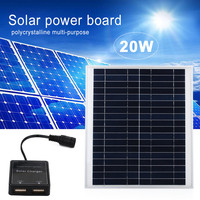 20W Solar Panel Solar Power Double USB Portable Power Bank Board External Battery Charging Solar Cell Board Outdoor Car Charger