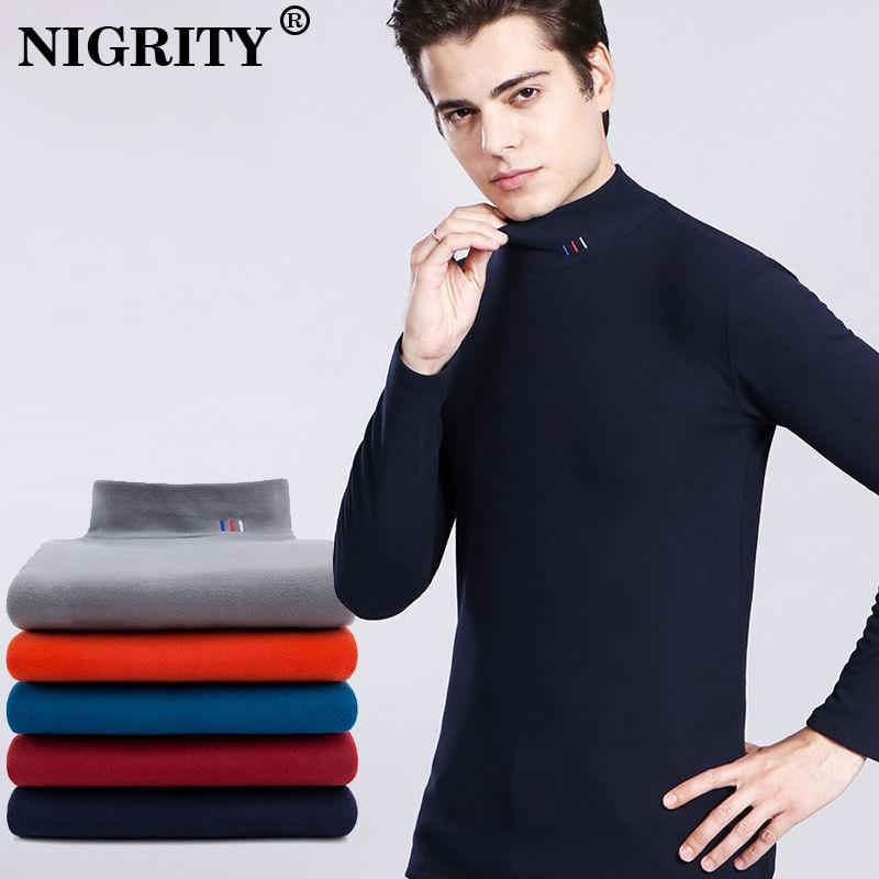 NIGRITY 2019 Men Casual High Collar Pullover Men Autumn Slim Fit Long Sleeve Bottoming Shirt Men's Keep Warm Shirt