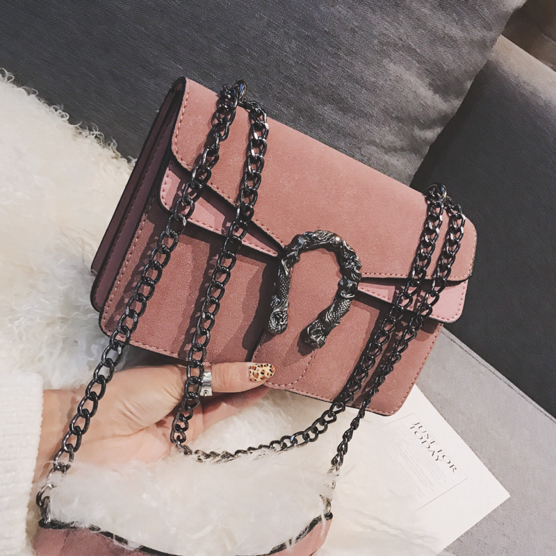 Designer frosted chain pouch 2019 new Korean fashion PU women's bag simple personality wild one-shoulder messenger pouch