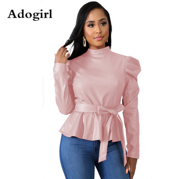 PU Pullover Long Pleated Long Sleeve Turtleneck Blouse Top Lace Up Women 2019 Autumn Casual Elegant Office Lady Outfits lace panel scrunch long sleeve top