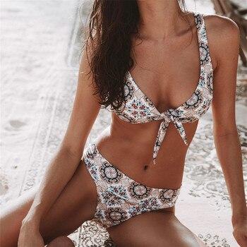 цена на Sexy Bow Knot Bikinis Monokini Bandage Micro Brazilian Bikini Set Bathing Suit Women Bandeau Swimwear Tie Front Swimsuit 2020