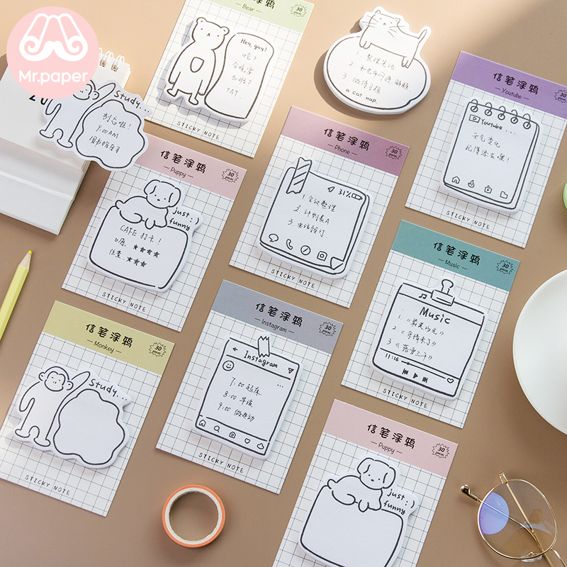 Mr Paper 30pcs/pad 8 Designs Animal Puppy Life Memo Pad Sticky Notes Notepad Diary Creative Stationery Self-Stick Note Memo Pads