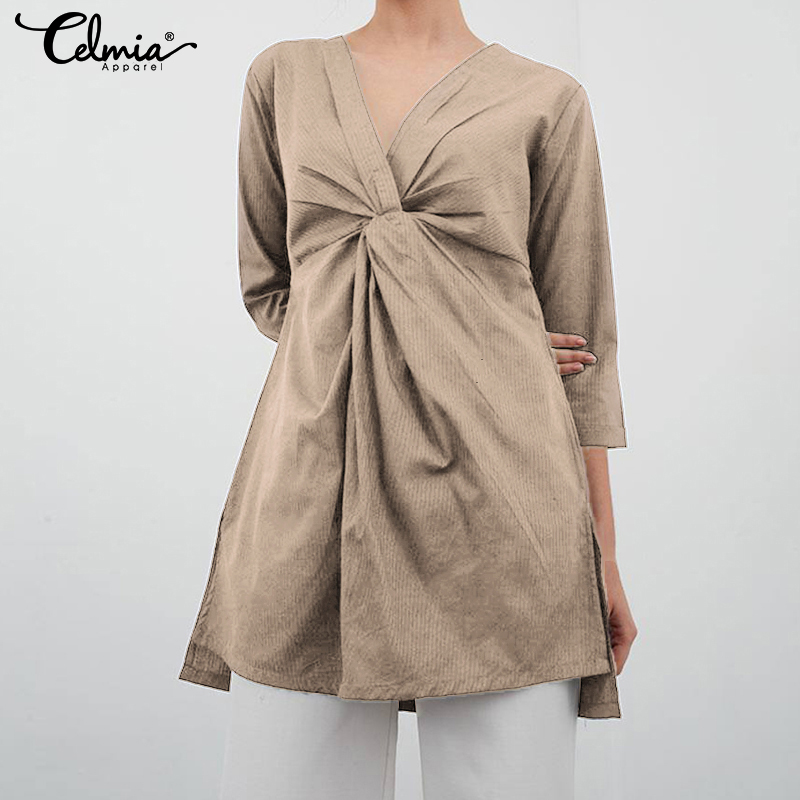 2020 Celmia Women Blouses Asymmetrical Twisted Tops Split Tunic Shirts Casual Loose Ladies Pleated Long Blusas Mujer Plus Size