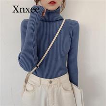 Women Autumn Winter Turtleneck Slim Sweater Long Sleeve Basic Knitted Pullovers Solid Elastic Jumper Office work printio звезда балета прима балерина