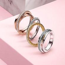 Funkelnden CZ 925 Sterling Silber Ring Frauen, Verlobung, Hochzeit Ringe Gestapelt Band Ring geschenk mode schmuck