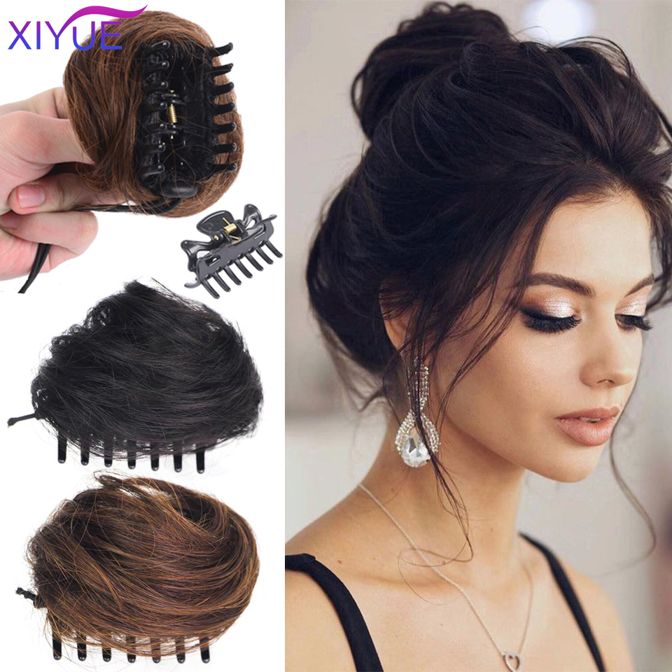 Xiyue feminino cabelo encaracolado sintético chignon ombre garra cabelo bagunçado updo garra clip em hairpiece para mulher