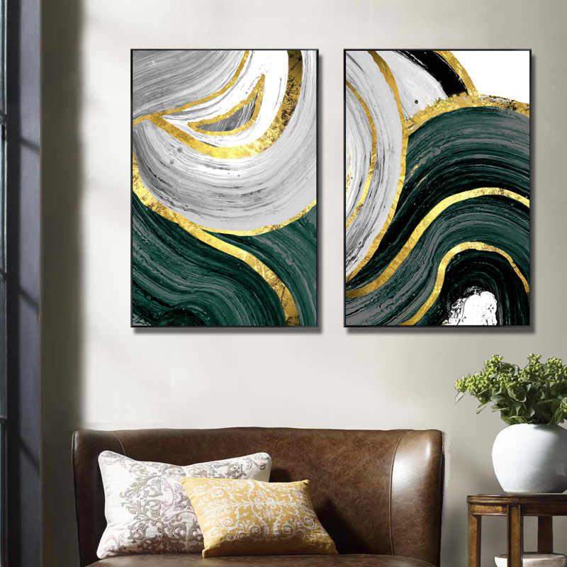 مجردة الذهب الأخضر هندسية جدار صورة فنية الملصقات و يطبع قماش اللوحة الشمال الديكور غرفة المعيشة المنزلي ديكور
