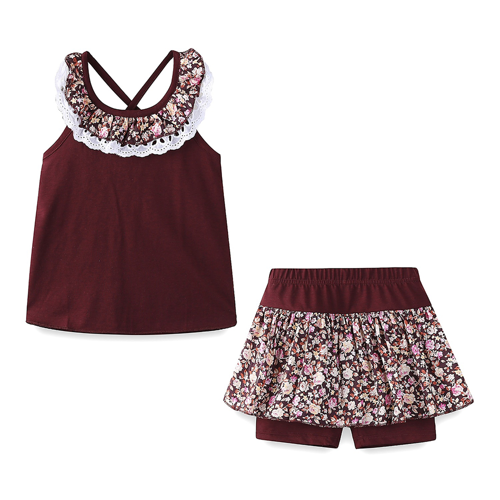 Mudkingdom Floral Summer Girls Outfits Backless Lace Collar Tops and Short Culottes Holiday Clothes for Kids 2