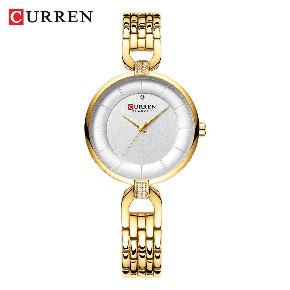 CURREN женские часы модные роскошные женские часы золотые из нержавеющей стали Кварцевые часы Топ бренд часы водонепроницаемые наручные часы