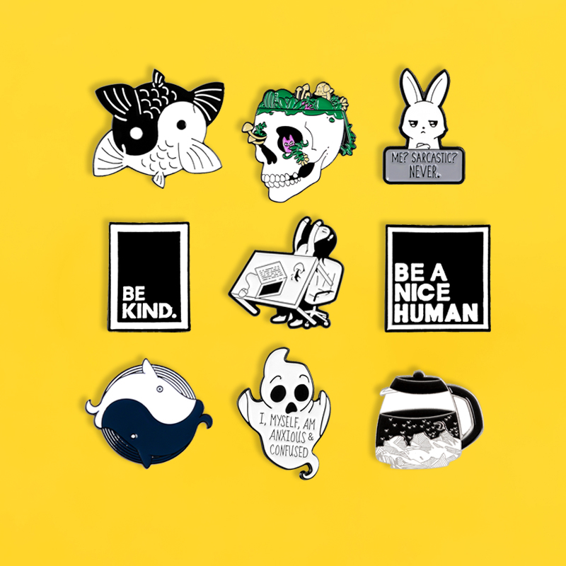 Bunny pins Yin Yang Fish Ghost Skull badges brooches for women Funny cute coffee pot Lapel enamel pin Clothes bag Jewelry gifts