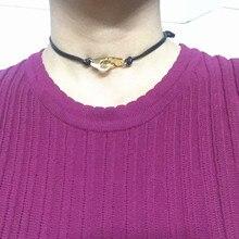Отрегулируйте Логотип 925 стерлингового серебра наручники чокер для мужчин и женщин подвеска ожерелье с красной черной веревкой для мужчин и женщин французский бренд ювелирных изделий