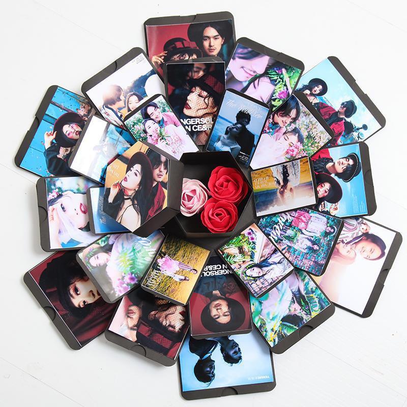 Schöne Überraschung Explosion Paar Box Liebe Speicher Diy Fotoalbum Jahrestag Valentinstag Geschenk Box Sammelalbum Weihnachten Geschenke