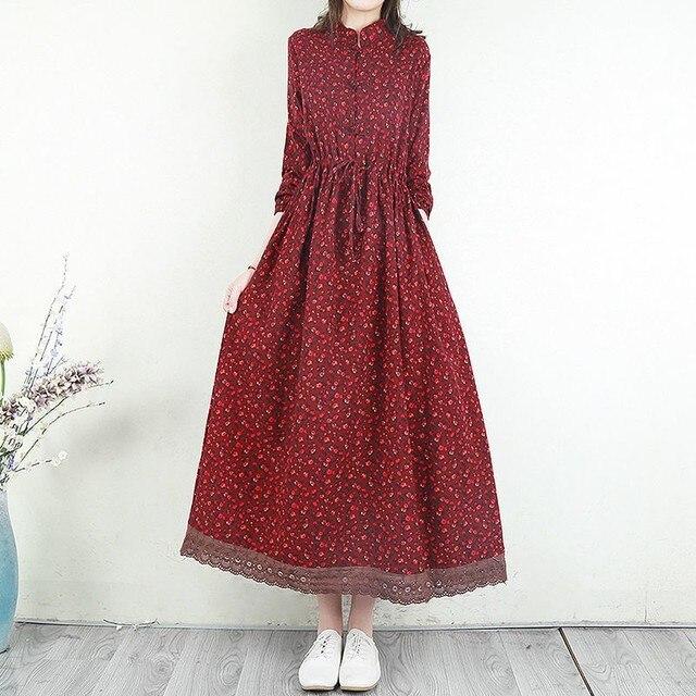 Women Cotton Linen Long Dress New Arrival 2021 Spring Vintage Floral Print Patchwork Lace Loose Female Casual Dresses D024 4
