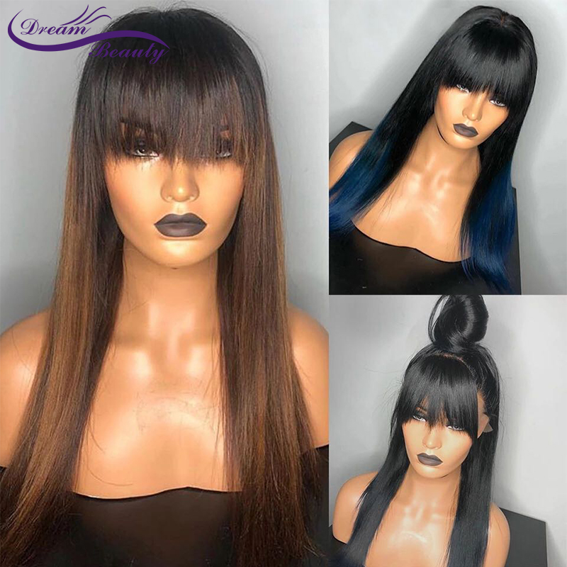 Blue Wig Ombre Lace Front Wig 13x4 Human Hair Wigs With Bangs Straight Lace Frontal Wigs Brazilian Non-Remy Wigs Dream Beauty