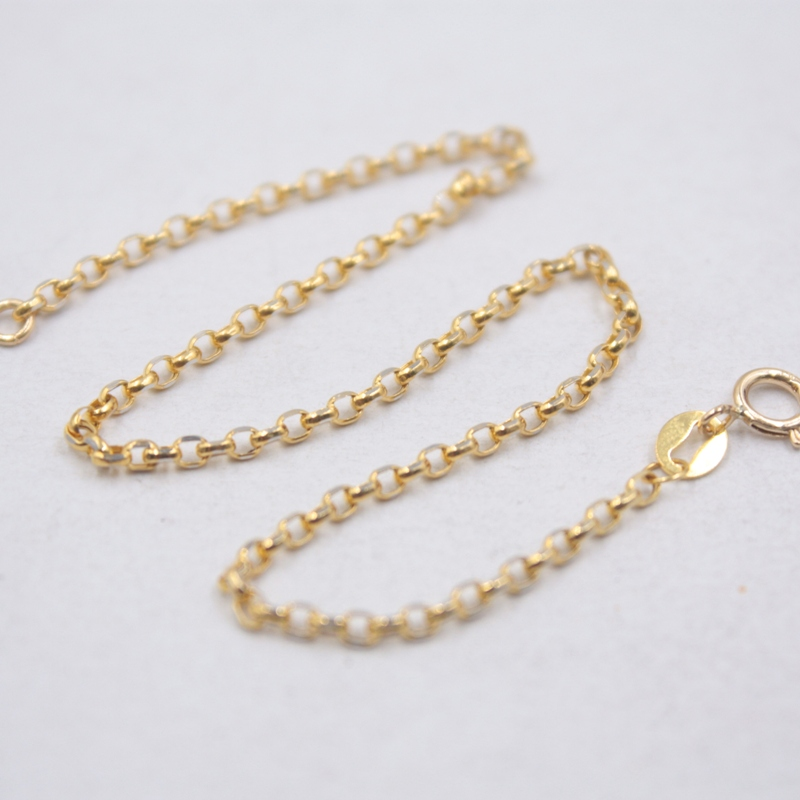 "Solid 18k Yellow Gold Bracelet Fine Jewelry Luck Rolo Cable Chain Link Bracelet 8.3"" 0.94g"