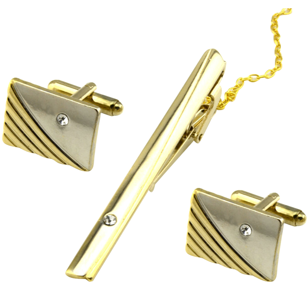 3 Pcs Curve Stripes Fashion Plated Tie Clip Party With Rhinestone Wedding Business Accessories Cuff Link Set Clothes Gift Metal