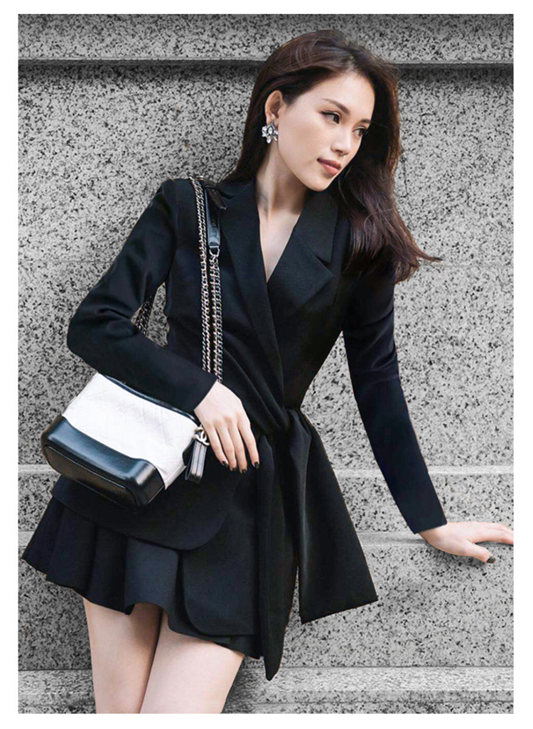 Autumn Notched Solid Casual Office Blazer Skirt Women Two Piece Sets Work Suits Dress 23