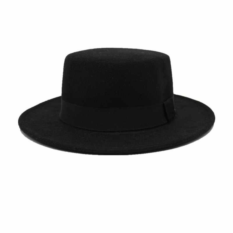 الصوف الطاقيه قبّعة مسطّحة ل المرأة ورأى قبعة بحافة واسعة قبعة Laday Prok فطيرة Chapeu دي Feltro الرامي مقامر أفضل قبعة s