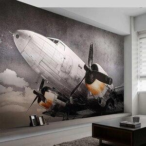 Image 1 - Papier peint Mural personnalisé Style européen nostalgique avion fresque salon TV canapé Restaurant fond créatif décor Mural 3D