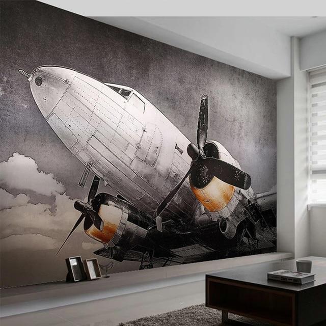 Papier peint Mural personnalisé Style européen nostalgique avion fresque salon TV canapé Restaurant fond créatif décor Mural 3D