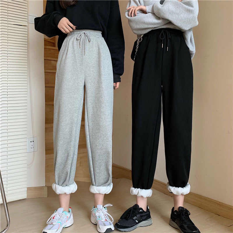 Wanita Tinggi Pinggang Serut Jogging Celana Plus Ukuran Wanita Warna Solid Longgar Harem Celana Wanita Celana Santai