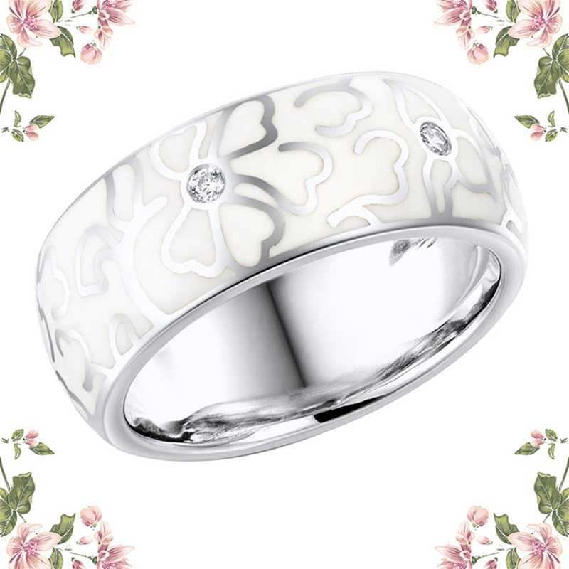 Personalizado retro artesanal anel de cerâmica para as mulheres elegantes flores brancas imitação de porcelana anel festa de casamento jóias