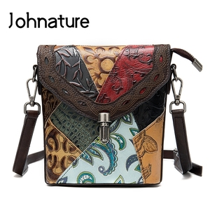 Johnature 2020 novo retro em relevo ombro & crossbody sacos de couro multi-cor costura feminina pequena bolsa (correspondência de cores aleatórias)