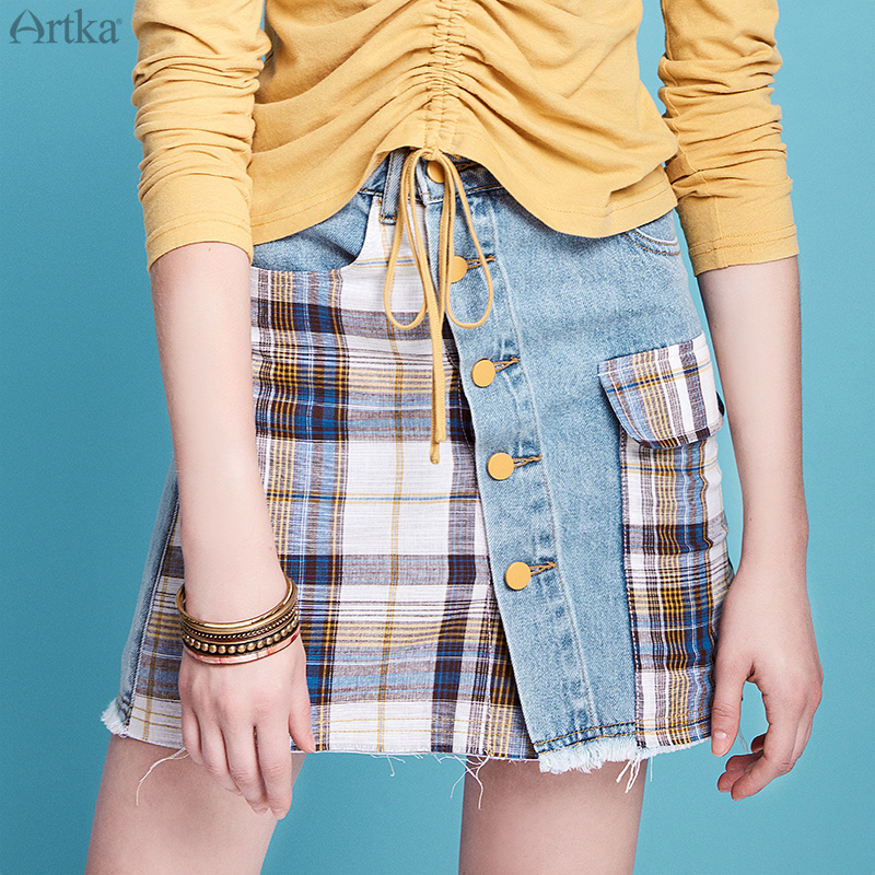 ARTKA 2020 Spring Summer New Women Skirts Vintage Plaid Stitching Denim Skirt A-Line Casual Short Skirts Mini Skirt QN20003X