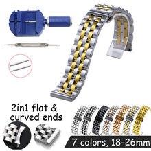2in1 düz kavisli son saat kayışı 18 19 20mm 21 22mm 24mm 26mm yedek saat kayışı kelebek toka paslanmaz çelik saat kayışı