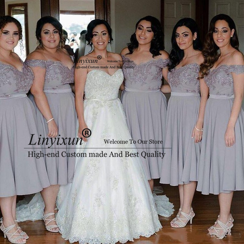 Light Gray Cheap Tea Length   Bridesmaid     Dresses   Off Shoulder Plus Size A Line Maid of Honor   Dresses   Prom Party Gowns Custom Made