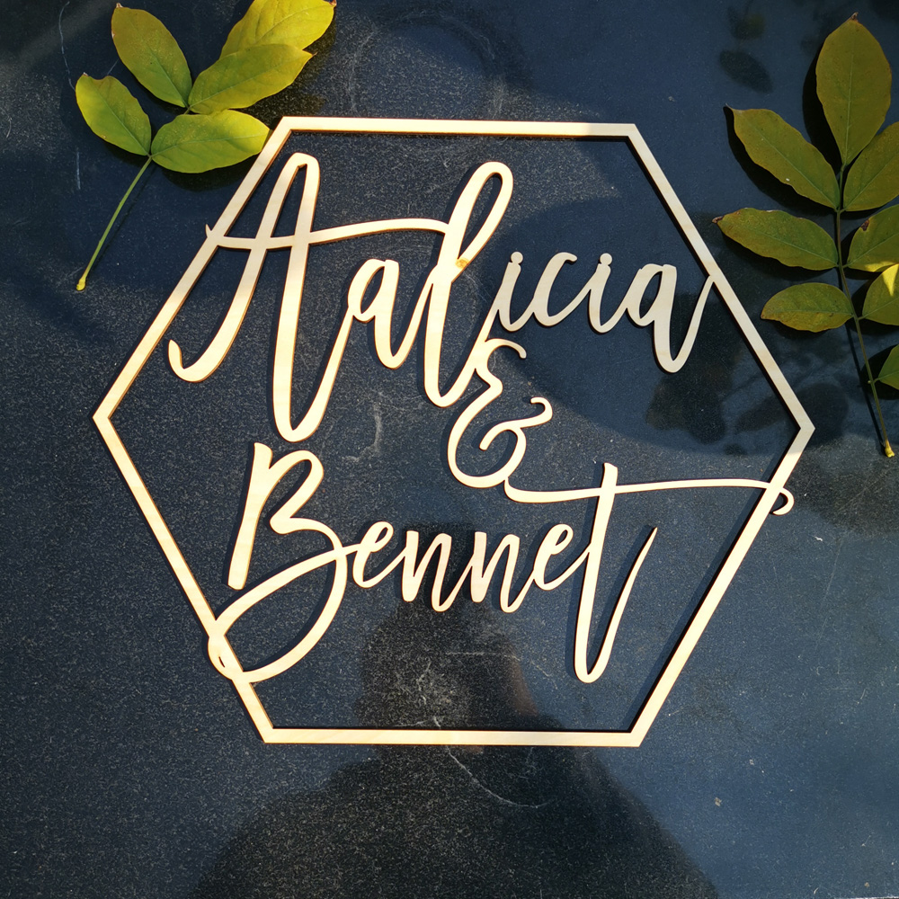 Personalized Couple Wedding Hexagon Style Name sign wood,Bride & Groom Country wedding tablephoto Wall name sign Hoop Decor