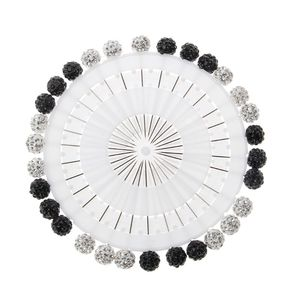 Image 3 - 30Pcs/Set Safety Pin Muslim Hijab Scarf Pin Rhinestone Ball Brooch Straight Head Pin
